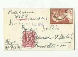 3.50 Dr. Obl. Sc KORINTH Sur Enveloppe (format Carte De Visite) Du 9 Avril 1956 Vers Bruxelles (biffé) Et Renvoyé à La P - Greece
