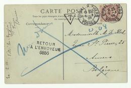 2c. Blanc Obl. Dc EPINAL R. THIERS VOSGES Sur CP Du 6-8-1905 Vers ANvers (BE) + Griffe T Et RETOUR A L'ENVOYEUR 6856 - - 1900-29 Blanc