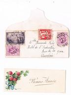 Enveloppe Et Carte De Vœux D'Acoz Vers Hôtel De L'industrie Auvelais Sambreville 1933 Timbre Léopold III 70 C - Covers & Documents