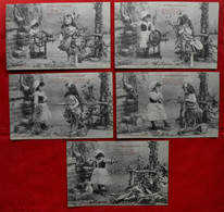 Série Complète 5 CPA - 1904Photos 3 & 4 / Fable - La Cigale Et La Fourmi - Niños
