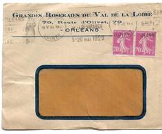 France N°190 Paire Sur Lettre Avec Variété Couleur Dans Les Chiffres. - Variétés: 1921-30 Lettres & Documents