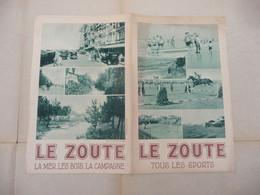 Ancien Vieux Dépliant Feuillet - LE ZOUTE  - Belgique - Tourism Brochures