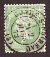 Napoléon III N° 20 Vert Clair - Boule Sur Le Nez - Oblitération T17 Condé Sur Noireau (Calvados) - 1862 Napoleon III