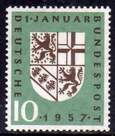 GERMANY GERMANIA ALLEMAGNE 1957 SAAR COAT OF ARMS RETURN TO GERMANY 10pf MNH - Ongebruikt