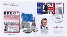 "FRANCE -TP Beaujard Ecopli Sur Vignette Porte Timbre EU Referendum 51,9% Vote BREXIT"" - Strasbourg Session 5/7/2016 - 2008-13 Marianna Di Beaujard"