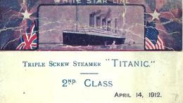 1912 4 AVRIL  NAUFRAGE Du TITANIC FAC SIMILE MENU  RECTO VERSO VOIR SCANS - Historical Documents