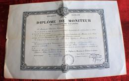 DIPLÔME De MONITEUR De COLONIES De VACANCES-MINISTRE EDUCATION NATIONALE  SCE ACADEMIQUE JEUNESSE SPORT AIX EN PROVENCE - Diploma's En Schoolrapporten