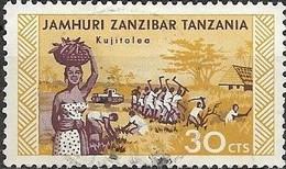 ZANZIBAR 1966 Agricultural Workers - 30c - Purple And Yellow FU - Zanzibar (1963-1968)
