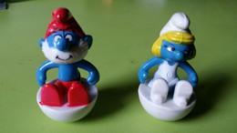 2 Schtroumpfs à Bascule Style Bidibule Grand Schtroumpf Et Schtroupfette Figurine En Plastique 1984 Signé Peyo - I Puffi