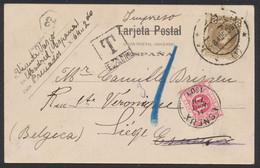 Taxe - Tarjeta Postale (Madrid, Espagne) Expédié En Imprimé > Esneux (1903). Double Taxe Mixte (espagnol Et TX5) - Portomarken