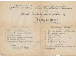 AFFICHE COMITE PROPAGANDE DEMOCRATIE ROANNE 1911 PROGRAMME 31*20 CM - Historische Dokumente