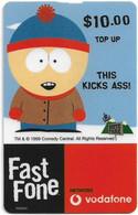 Australia - Vodafone - South Park, Stan, This Kicks @ss, Exp.31.12.2000, GSM Refill 10$, Used - Australia