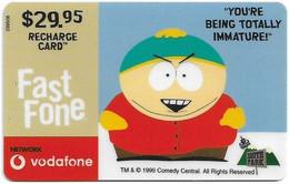 Australia - Vodafone - South Park, Cartman, Totally Immature, Exp.31.12.2001, GSM Refill 29.95$, Used - Australia