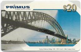 Australia - Primus - 20th Century Series, Sydney Harbour Bridge #2, Exp.06.2001, Remote Mem. 20$, Used - Australia