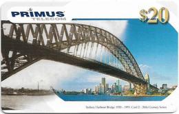 Australia - Primus - 20th Century Series, Sydney Harbour Bridge #2, Exp.10.2001, Remote Mem. 20$, Used - Australia