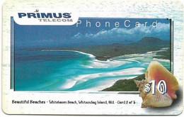 Australia - Primus - Beautiful Beaches Series, Whitehaven #2, Shell, Exp.06.2000, Remote Mem. 10$, Used - Australia