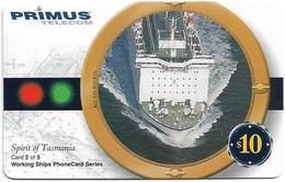 Australia - Primus - Working Ships (Series 2), Spirit Of Tasmania 2-5, Exp.31.07.2002, Remote Mem. 10$, Used - Australia