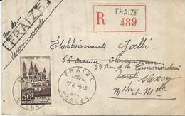 LETTRE RECOMMANDEE 1952 AVEC CACHET HOROPLAN ET CACHET LINEAIRE DE LA GARE DE FRAIZE - VOSGES - - Handstempel