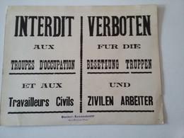 WW2 Affiche Interdit Verboten   Standort - Kommandantur  St-Pierre Sur Dives   Carton 25 X 32,4 Cm - Posters