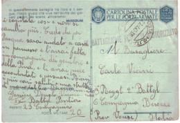 CARTOLINA POSTALE PER LE FORZE ARMATE IX BATTAGLIONE PONTIERI MOTORIZZATO POSTA MILITARE 20 - Zonder Portkosten