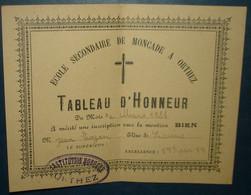 ECOLE SECONDAIRE DE MONCADE A ORTHEZ.TABLEAU D'HONNEUR .MARS 1924 - Diploma's En Schoolrapporten