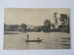 Le Goulet (Eure) - En Promenade Sur La Seine - Carte Animée, Circulée En 1912 - Otros Municipios