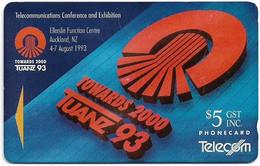 New Zealand - NZT (GPT) - Event Cards Onwards '92 - Tuanz Logo, 1993, 5$, 10.000ex, Used - Nuova Zelanda