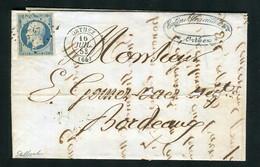 Rare Lettre D'Orthez Pour Bordeaux ( 1853 ) Avec Un N° 10 Présidence - 1852 Louis-Napoléon