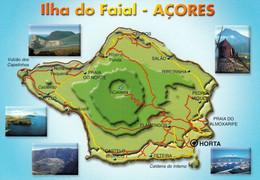1 Map Of Portugal / Azoren * 1 Ansichtskarte Mit Der Landkarte Von Der Insel Faial * - Maps
