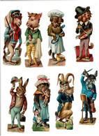 DECOUPIS - ANIMAUX HUMANISES ( Anthropomorphisme )  LOT De 10 Découpis Gaufrées, Dorées, SUPERBES - VOIR SCANS - Dieren