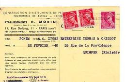 E 5 1940 Carte Entete Constructions D'instruments De Précision A Paris (étiquette Spéciale Au Dos, En Raison Des .....) - Poststempel (Briefe)