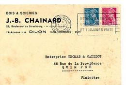 E 5 1942 Carte Entete Bois /scieries à Dijon - Poststempel (Briefe)