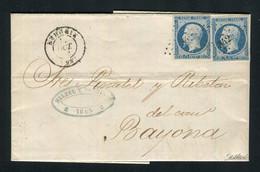 Rare Lettre D'Irun Postée à Béhobie Pour Bayonne ( 1853 ) Avec Deux N° 10 Présidence - 1852 Louis-Napoléon