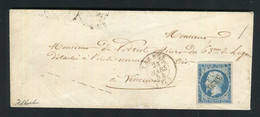 Rare Lettre De Tarbes Pour Vincennes ( 1853 ) Avec Un N° 10 Présidence - 1852 Louis-Napoléon