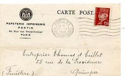 E 5 1942 Carte Entete Papeteries Imprimerie Fortin à Paris - Poststempel (Briefe)
