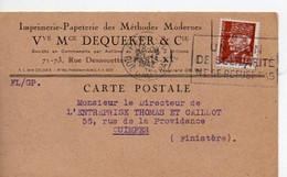 E 5 1942 Carte Entete Imprimerie Papeteries à Paris - Poststempel (Briefe)