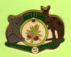 Pin's Club Lions Hong Kong 1992 Australia Papua New Guinea Koala Kangorou - 6D27 - Associazioni