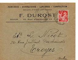 E 5 1941carte Entete Mercerie Bonneterie... à Dijon - Poststempel (Briefe)