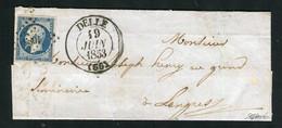Rare Lettre De Delle Pour Langres ( 1853 ) Avec Un N° 10 Présidence - 1852 Louis-Napoléon