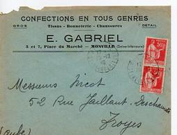 E 5 1940 Carte Entete Confection En Tous Genres à Monville - Poststempel (Briefe)
