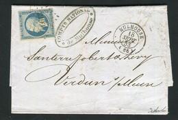 Rare Lettre De Mulhouse Pour Verdun ( 1853 ) Avec Un N° 10 Présidence - 1852 Louis-Napoléon