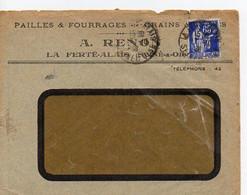 E 5 1938 Carte/ Enveloppe Entete Pailles Fourrages..... à La Ferté Allais (additions Et Compte  Au Dos Au Crayon) - Poststempel (Briefe)