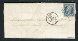 Rare Lettre De Lyon Pour Paris ( 1853 ) Avec Un N° 10 Présidence - Signé Baudot - 1852 Louis-Napoléon