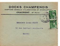 E 5 1941 Carte/ Enveloppe Entete Docks Champenois à  Chaumont - Poststempel (Briefe)