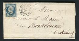 Rare Lettre De Fougerolles Haute Saône Pour Bourbonne ( 1853 ) Avec Un N° 10 Présidence - 1852 Louis-Napoléon
