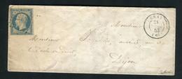 Rare Lettre De Gray Pour Dijon ( 1853 ) Avec Un N° 10 Présidence Bleu Laiteux - 1852 Louis-Napoléon