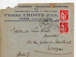E 5 1940 Carte/ Enveloppe Entete Rouennerie  Confections à  Cozes - Poststempel (Briefe)