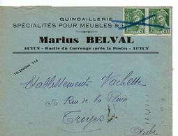 E 5 1941 Enveloppe / Carte Entete Quincaillerie à Autun - Poststempel (Briefe)