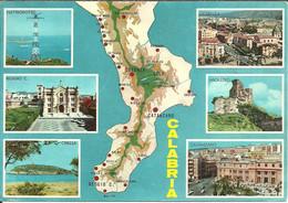 Calabria, Cartina Topografica E Vedute Elettrodotto, Reggio Calabria, Cirella, Cosenza, Nicastro, Catanzaro - Italy