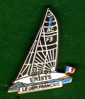 Pin's  Voilier  Le Défi Français Unisys Zamac  Arthus Bertrand - Arthus Bertrand